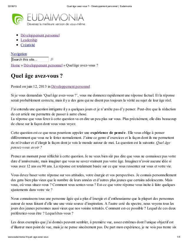 22/06/13 Quel âge avez-vous ? - Développement personnel   Eudaimoniawww.eudaimonia.fr/quel-age-avez-vous 1/5Développement ...