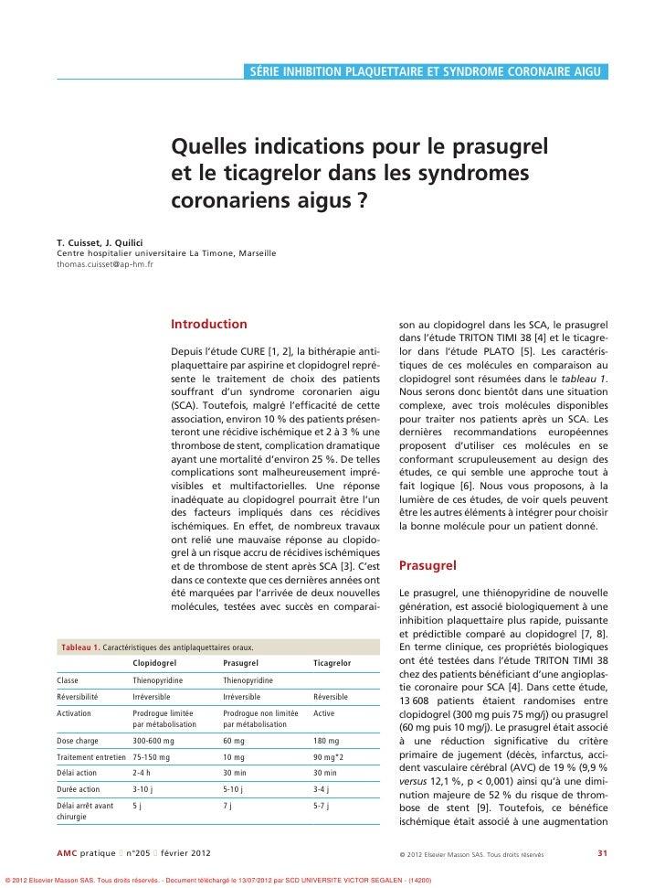 SÉRIE INHIBITION PLAQUETTAIRE ET SYNDROME CORONAIRE AIGU                                                     Quelles indic...