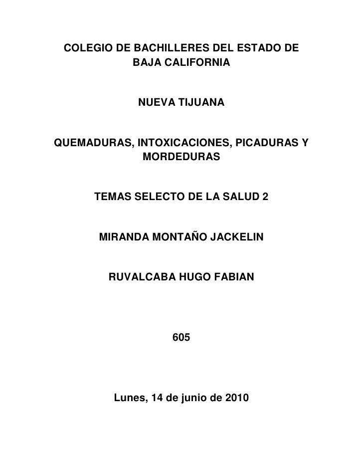 COLEGIO DE BACHILLERES DEL ESTADO DE BAJA CALIFORNIA<br />NUEVA TIJUANA<br />QUEMADURAS, INTOXICACIONES, PICADURAS Y MORDE...