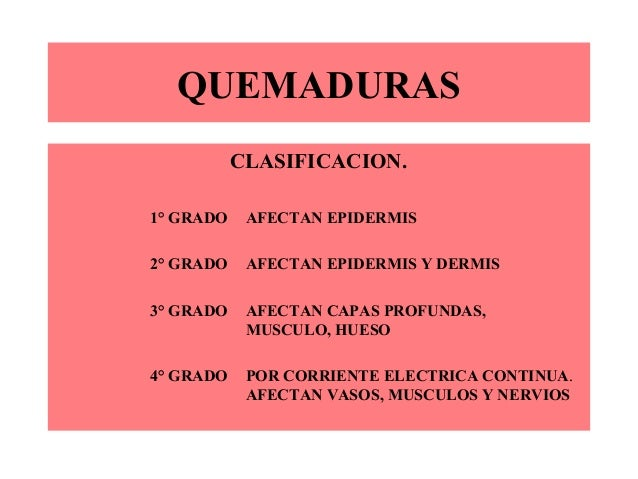 QUEMADURASCLASIFICACION.1° GRADO AFECTAN EPIDERMIS2° GRADO AFECTAN EPIDERMIS Y DERMIS3° GRADO AFECTAN CAPAS PROFUNDAS,MUSC...