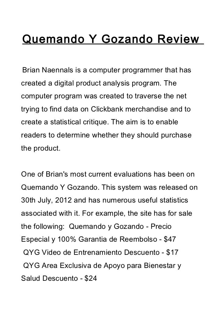 Quemando Y Gozando ReviewBrian Naennals is a computer programmer that hascreated a digital product analysis program. Theco...