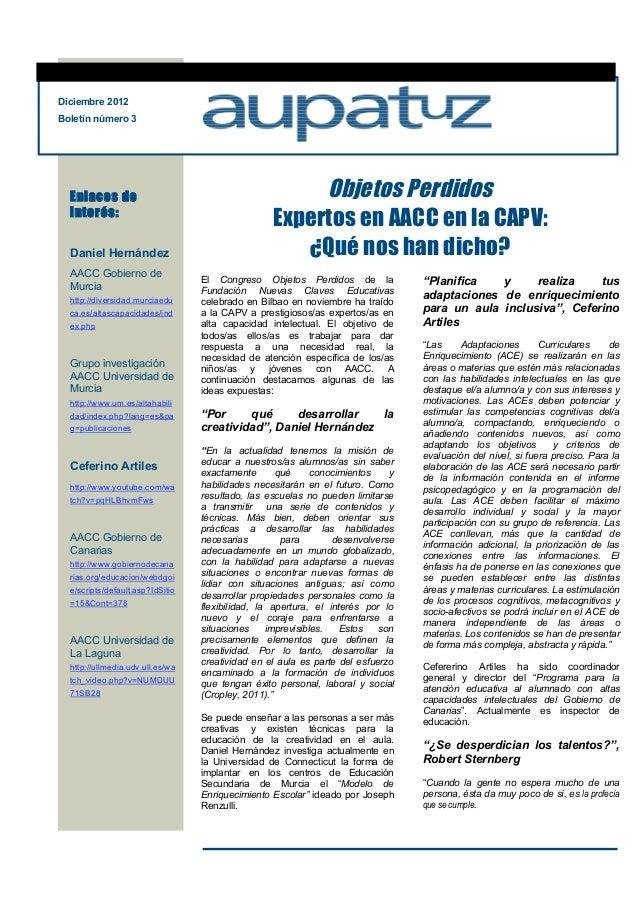 Que nos han dicho los expertos boletín 3 aupatuz diciembre 2012