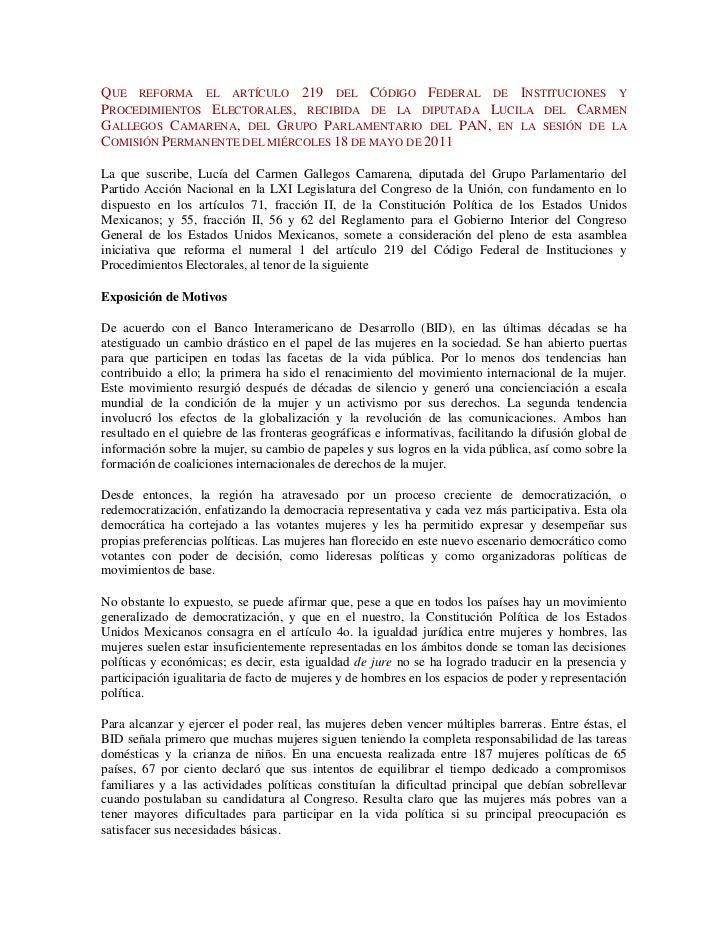 Que reforma el artículo 219 del Código Federal de Instituciones y Procedimientos Electorales, recibida de la diputada Luci...