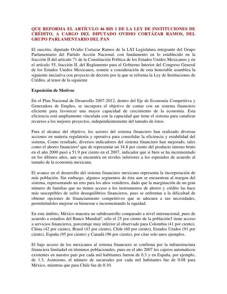 Que reforma el artículo 46 bis 1 de la ley de instituciones de crédito