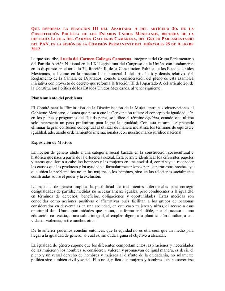 QUE REFORMA LA FRACCIÓN III DEL APARTADO A DEL ARTÍCULO 2O. DE LACONSTITUCIÓN POLÍTICA DE LOS ESTADOS UNIDOS MEXICANOS, RE...