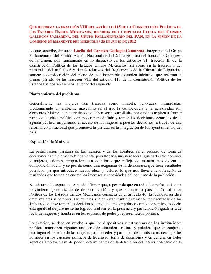Que reforma la fracción viii del artículo 115 de la constitución política de los estados unidos mexicanos