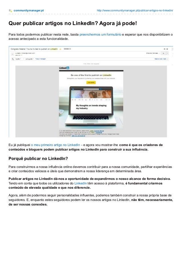 communitymanager.pt http://www.communitymanager.pt/publicar-artigos-no-linkedin/ Quer publicar artigos no LinkedIn? Agora ...