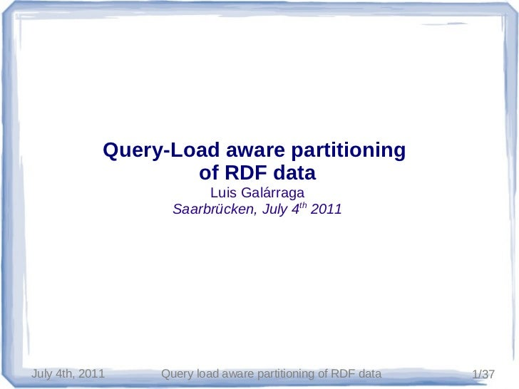 Query-Load aware partitioning of RDF data