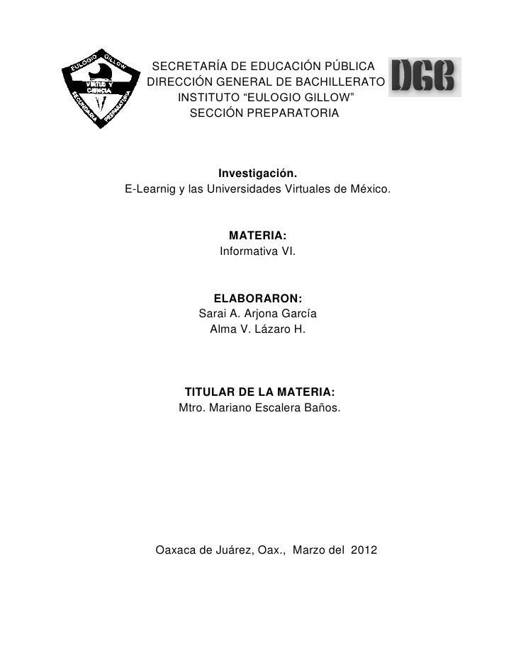 """SECRETARÍA DE EDUCACIÓN PÚBLICA    DIRECCIÓN GENERAL DE BACHILLERATO        INSTITUTO """"EULOGIO GILLOW""""          SECCIÓN PR..."""