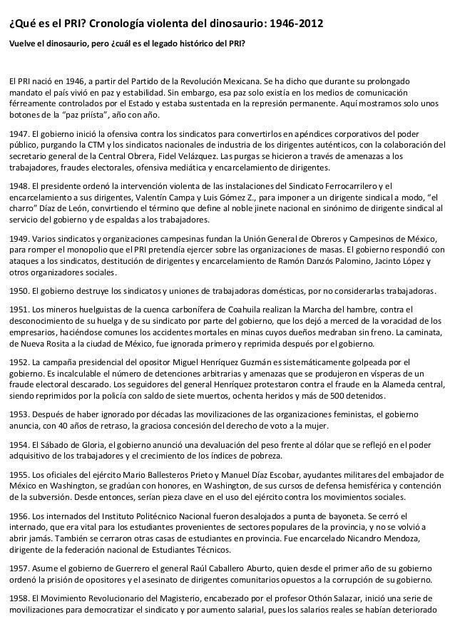 ¿Qué es el PRI? Cronología violenta del dinosaurio: 1946-2012 Vuelve el dinosaurio, pero ¿cuál es el legado histórico del ...