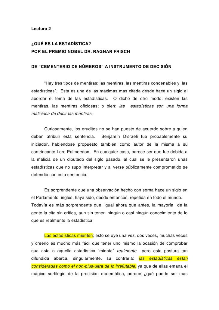 """Lectura 2<br />¿QUÉ ES LA ESTADÍSTICA?<br />POR EL PREMIO NOBEL DR. RAGNAR FRISCH<br />DE """"CEMENTERIO DE NÚMEROS"""" A INSTRU..."""