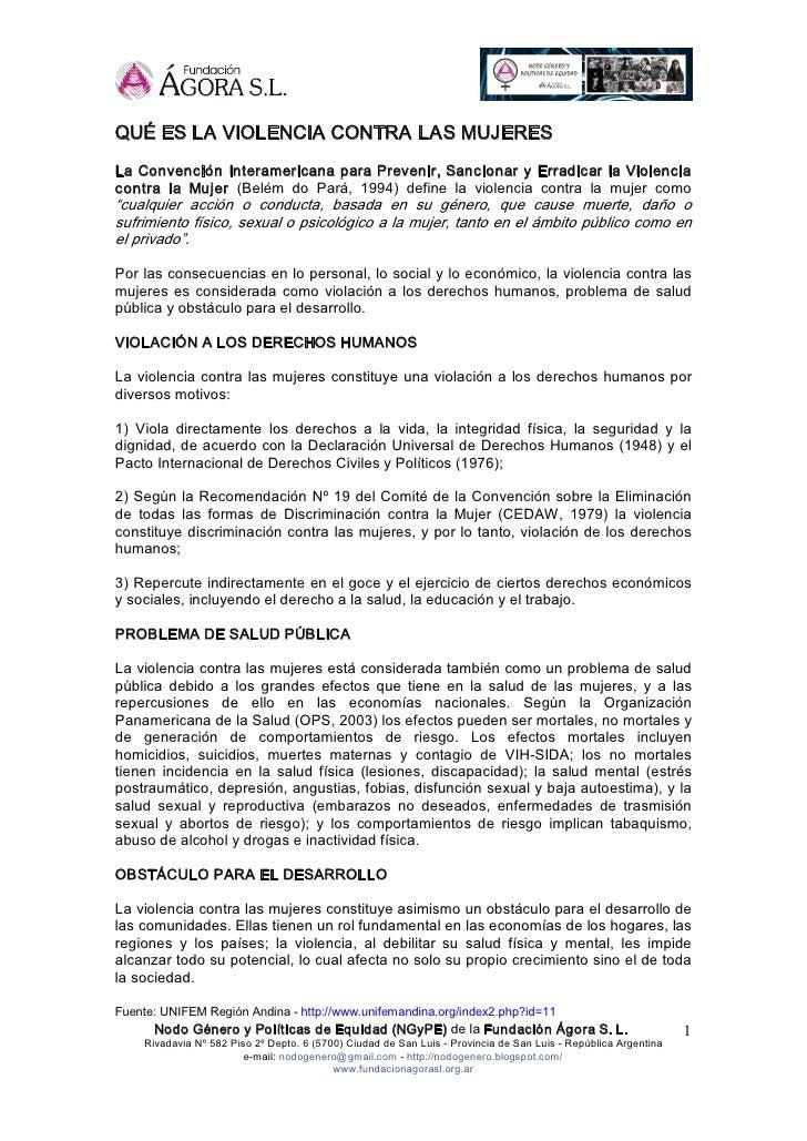 QUÉESLAVIOLENCIACONTRALASMUJERES LaConvenciónInteramericanaparaPrevenir,SancionaryErradicarlaViolencia co...