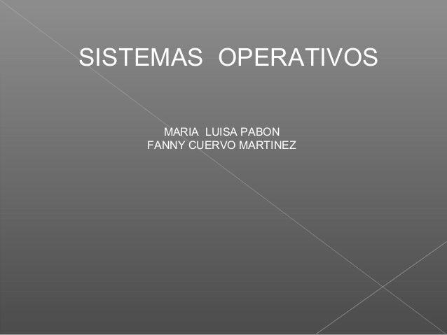 SISTEMAS OPERATIVOS MARIA LUISA PABON FANNY CUERVO MARTINEZ