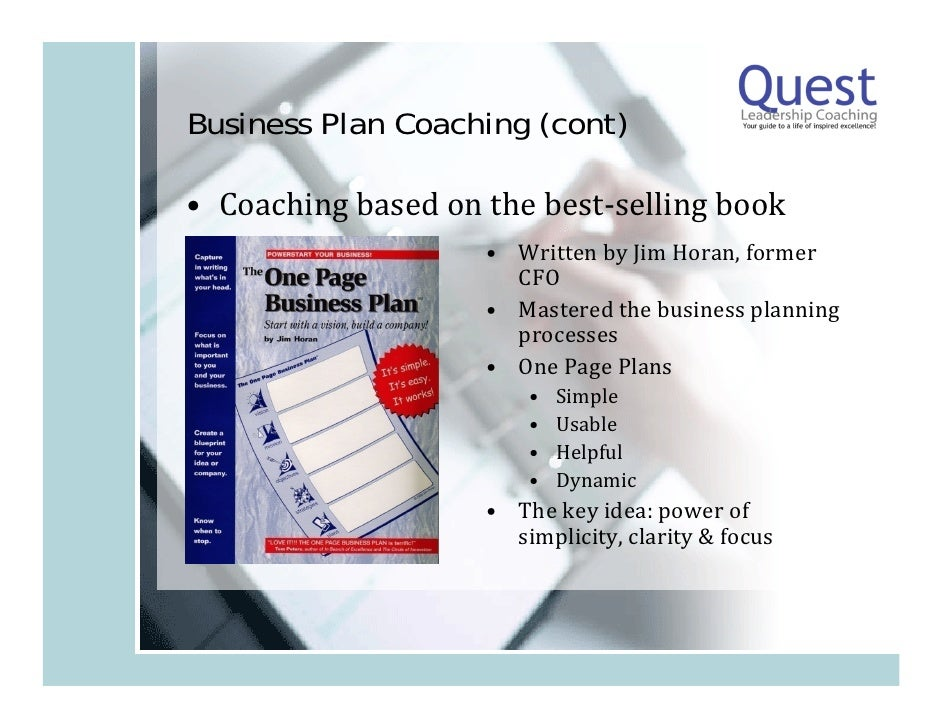 One Page Business Plan Jim Horan