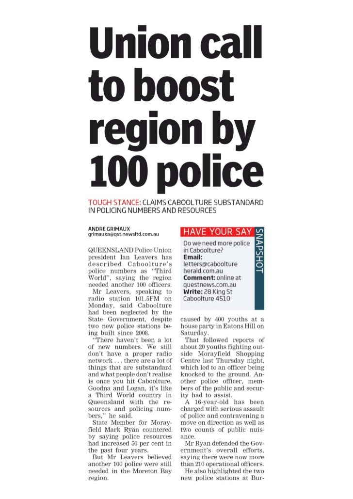 Quest: Unions call to boost region by 100 police