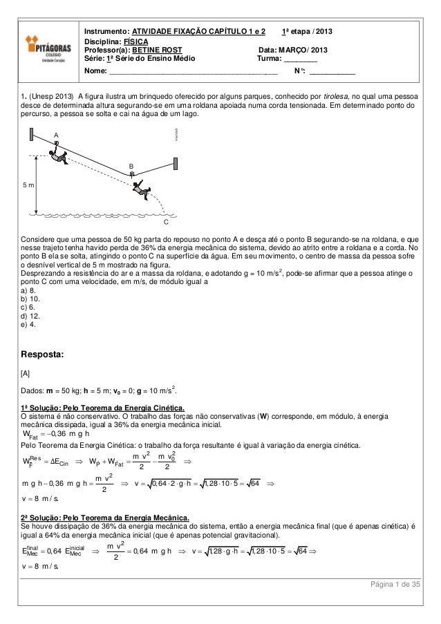 Instrumento: ATIVIDADE FIXAÇÃO CAPÍTULO 1 e 2    1ª etapa / 2013                   Disciplina: FÍSICA                   Pr...