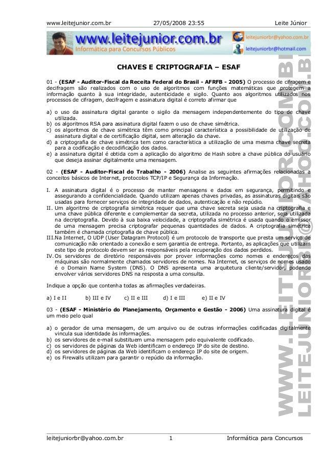 www.leitejunior.com.br 27/05/2008 23:55 Leite JúniorCHAVES E CRIPTOGRAFIA – ESAF01 - (ESAF - Auditor-Fiscal da Receita Fed...