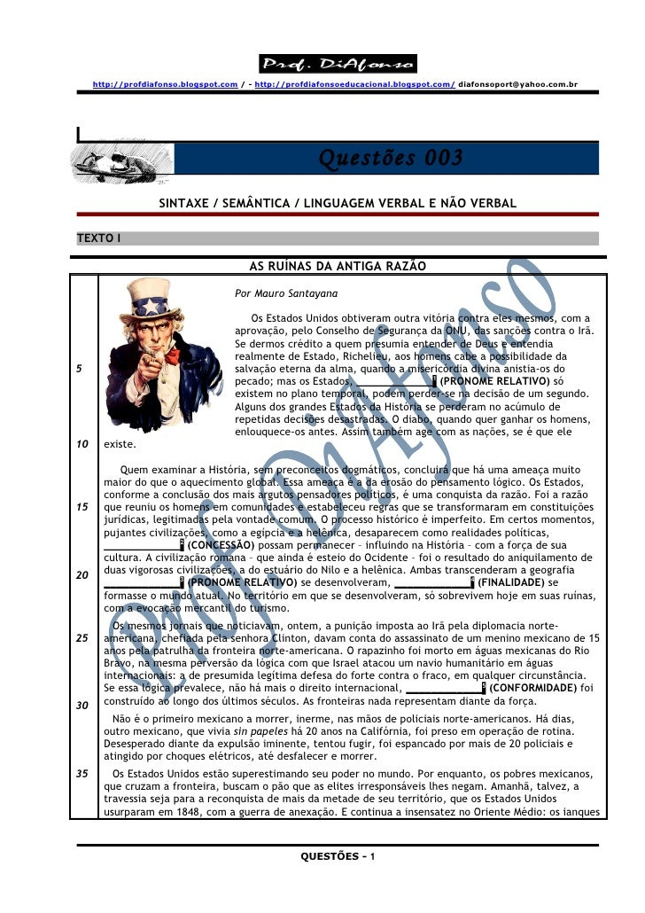http://profdiafonso.blogspot.com / - http://profdiafonsoeducacional.blogspot.com/ diafonsoport@yahoo.com.br               ...