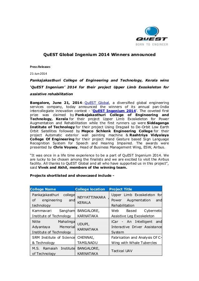 QuEST Global Ingenium 2014 Winners announced Press Releases 21-Jun-2014 Pankajakasthuri College of Engineering and Technol...