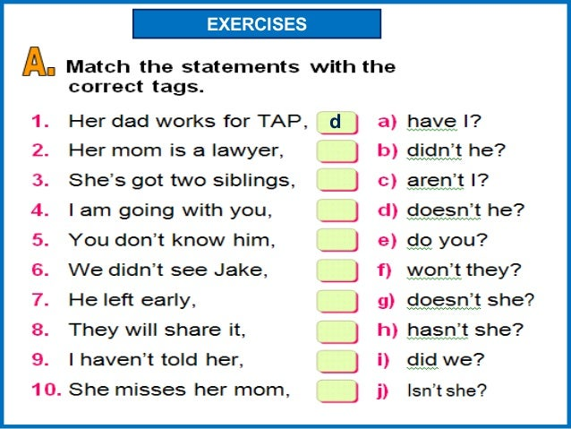 Tag Questions Worksheet Questions Question Tag