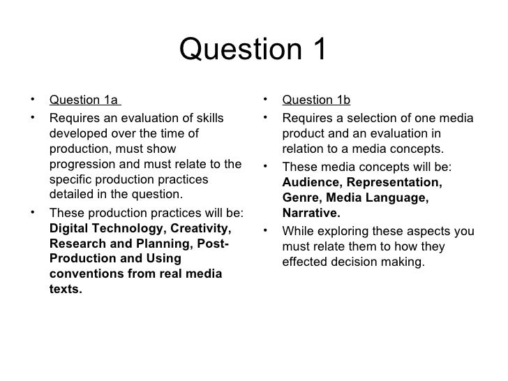 Question 1•   Question 1a                           •   Question 1b•   Requires an evaluation of skills      •   Requires ...