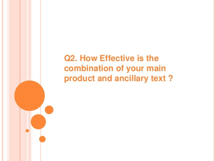 Q2. How Effective is thecombination of your mainproduct and ancillary text ?