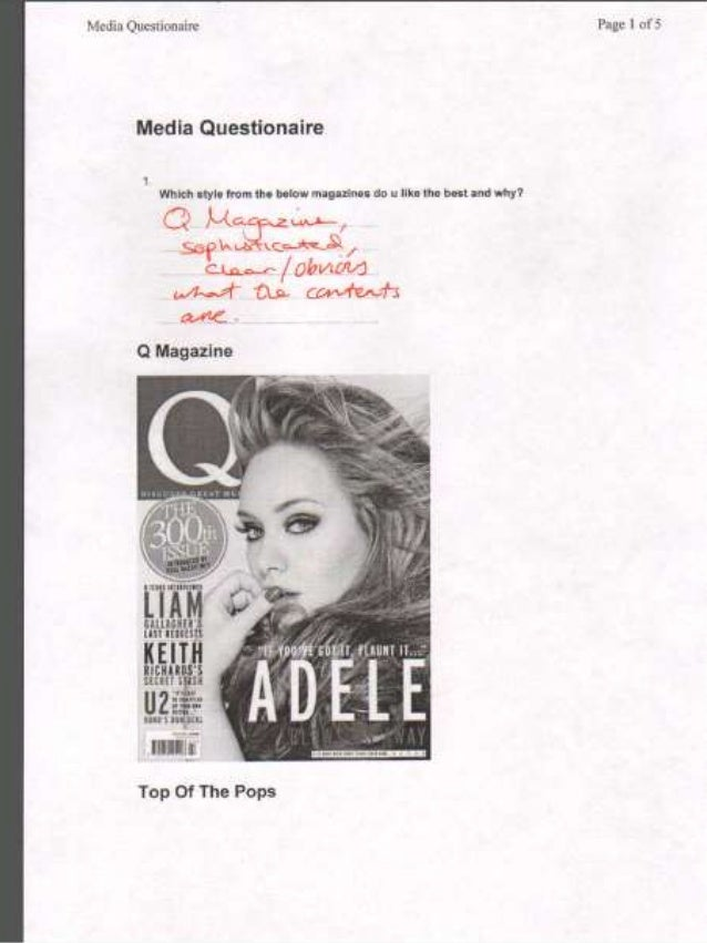 Questionaire On Music Magazine