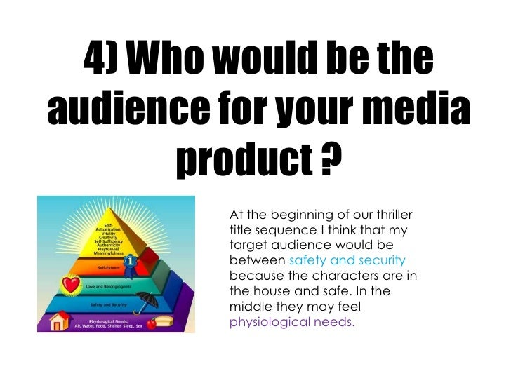 4) Who would be theaudience for your media       product ?         At the beginning of our thriller         title sequence...