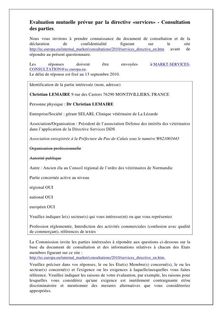 Evaluation mutuelle prévue par la directive «services» - Consultation des parties. Nous vous invitons à prendre connaissan...