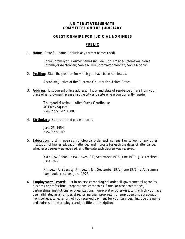 Questionnaire 2009