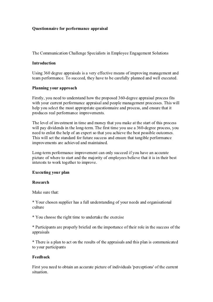 Questionnaire for performance appraisalThe Communication Challenge Specialists in Employee Engagement SolutionsIntroductio...