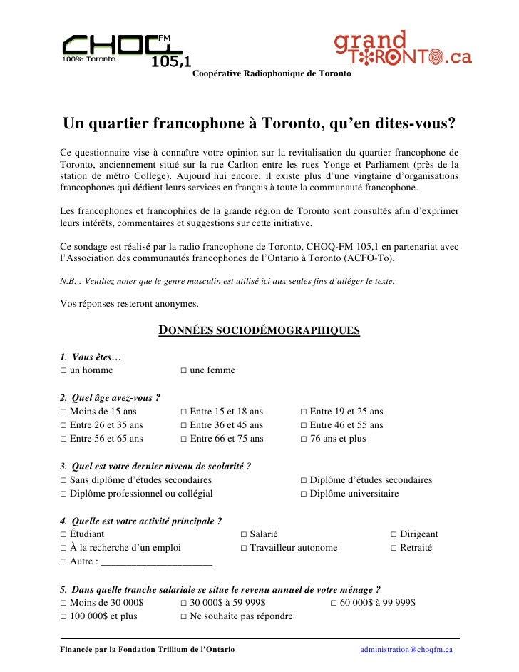 Coopérative Radiophonique de TorontoUn quartier francophone à Toronto, qu'en dites-vous?Ce questionnaire vise à connaître ...