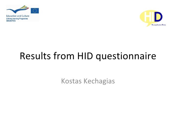 "Presentation from the Greece partner about ""Results from HID questionnaire"", author Kostas Kechagias"