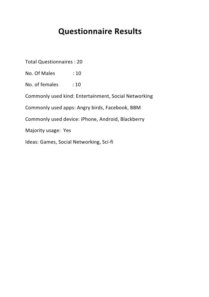 Questionnaire ResultsTotal Questionnaires : 20No. Of Males          : 10No. of females        : 10Commonly used kind: Ente...