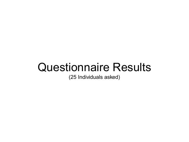 Questionnaire Results(25 Individuals asked)