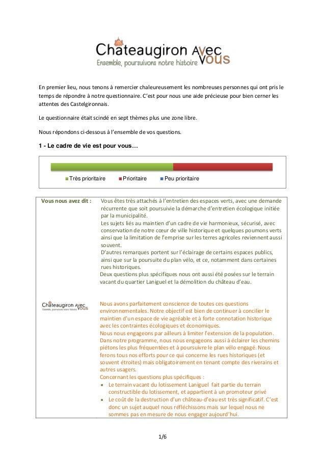 Synthèse du questionnaire et réponses de la liste Chateaugiron avec Vous