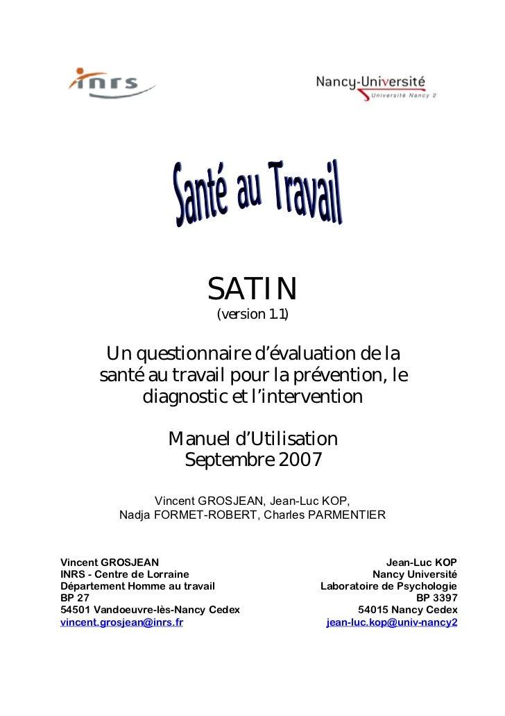 SATIN                           (version 1.1)       Un questionnaire d'évaluation de la      santé au travail pour la prév...