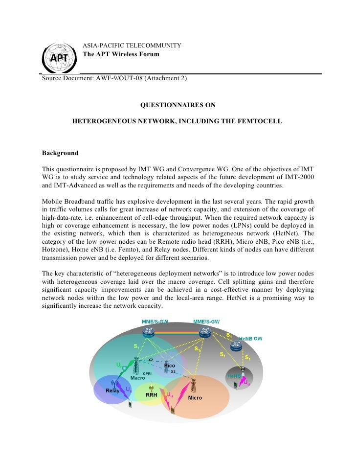 Questionnaires on heterogeneous network, including the femtocell