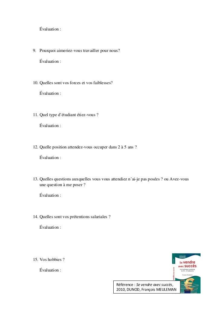 Questionnaire val entretien embauche pour cole - Grille evaluation entretien d embauche ...