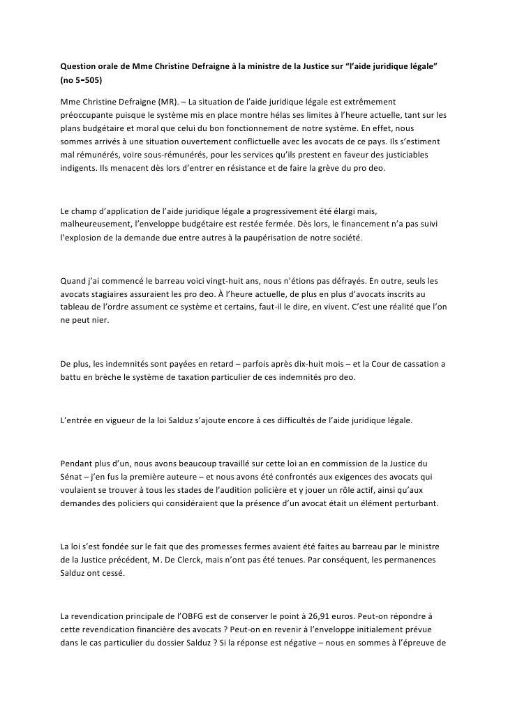 """Question orale de Mme Christine Defraigne à la ministre de la Justice sur """"l'aide juridique légale""""(no 5‑505)Mme Christine..."""