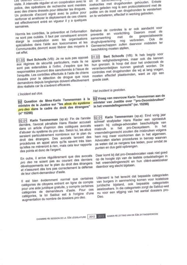 Question parlementaire  les abus du pro deo