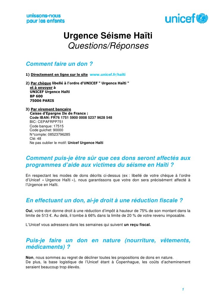 U 52 - Questions Reponses UNICEF (French)