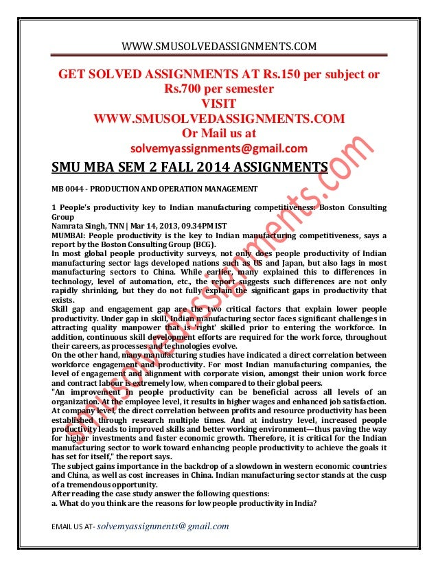Mba Assignments Smu