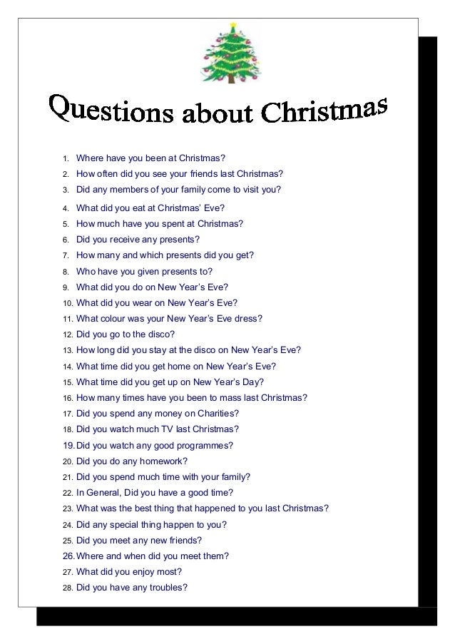 Questions after christmas