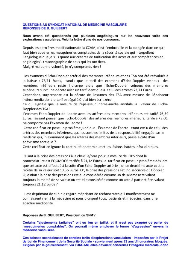 Questions au syndicat national de medecine vasculaire