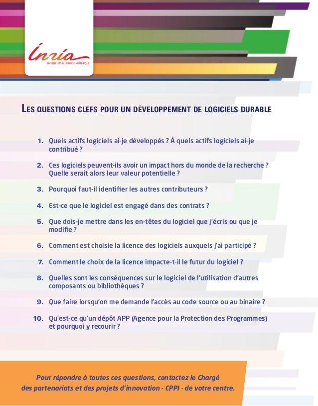 Les questions clefs pour un développement de logiciels durable    1. Quels actifs logiciels ai-je développés ? À quels a...