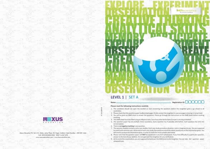 iKen Scientifica question papers 2011-12: Level 1