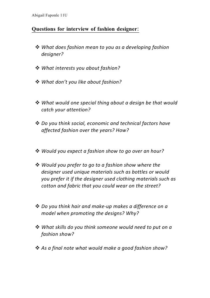 Fashion Designer Interview Questions To Ask