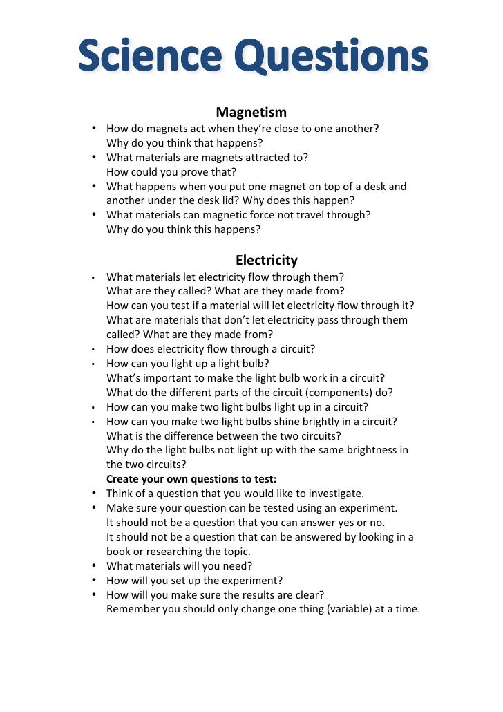 Questions magnetism electricity