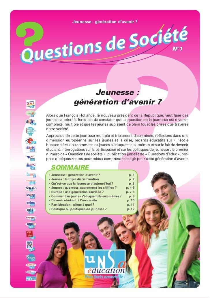 Jeunesse : génération d'avenir ?            de S o ciétéQ uest ions                                                       ...